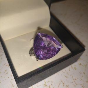 Amethyst Rhinestone 925 Silver Ring